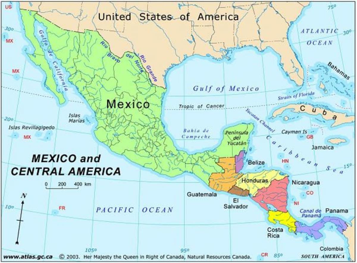 kartta meksikon ja keski amerikan